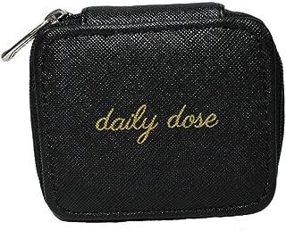 Miamica Black Saffiano Pill Case Travel, Daily Dose