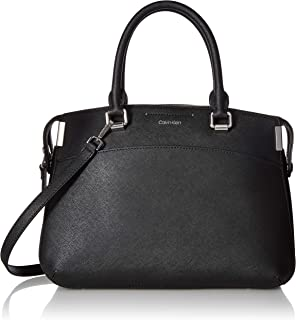 Calvin Klein womens Calvin Klein Raelynn Saffiano Leather Top Zip Satchel