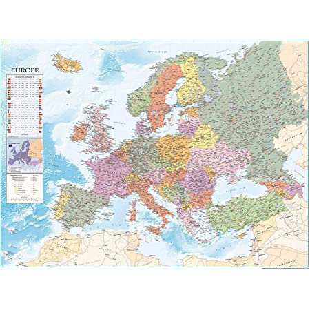 Cartina Europa Fisica Con Fiumi.Carta Geografica Europa Fisico Politica Amazon It Cancelleria E Prodotti Per Ufficio