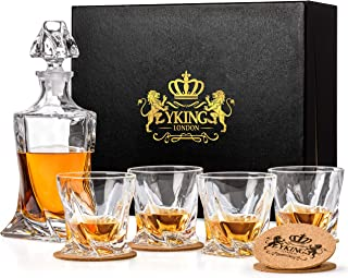 Decanter Set 9 Piece in Premium Gift Box from YKing London - Whiskey Bourbon Scotch Tequila Rum Vodka Decanter Set - Whiskey Decanter and Glass Set - Decanter set (decanter set)