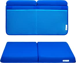 Baby Bath Kneeler and Elbow Rest, 1.75 inch Extra Thick Baby Bath Kneeling Pad and Elbow Pad for Bathtub. Bath Tub Elbow Pad with Infant Toy and Baby Accessories Organizer, Blue
