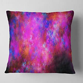 Designart Red Blue Starry Fractal Sky' Abstract Throw Living Room, Sofa, Pillow Insert + Cushion Cover Printed On Both Sid...