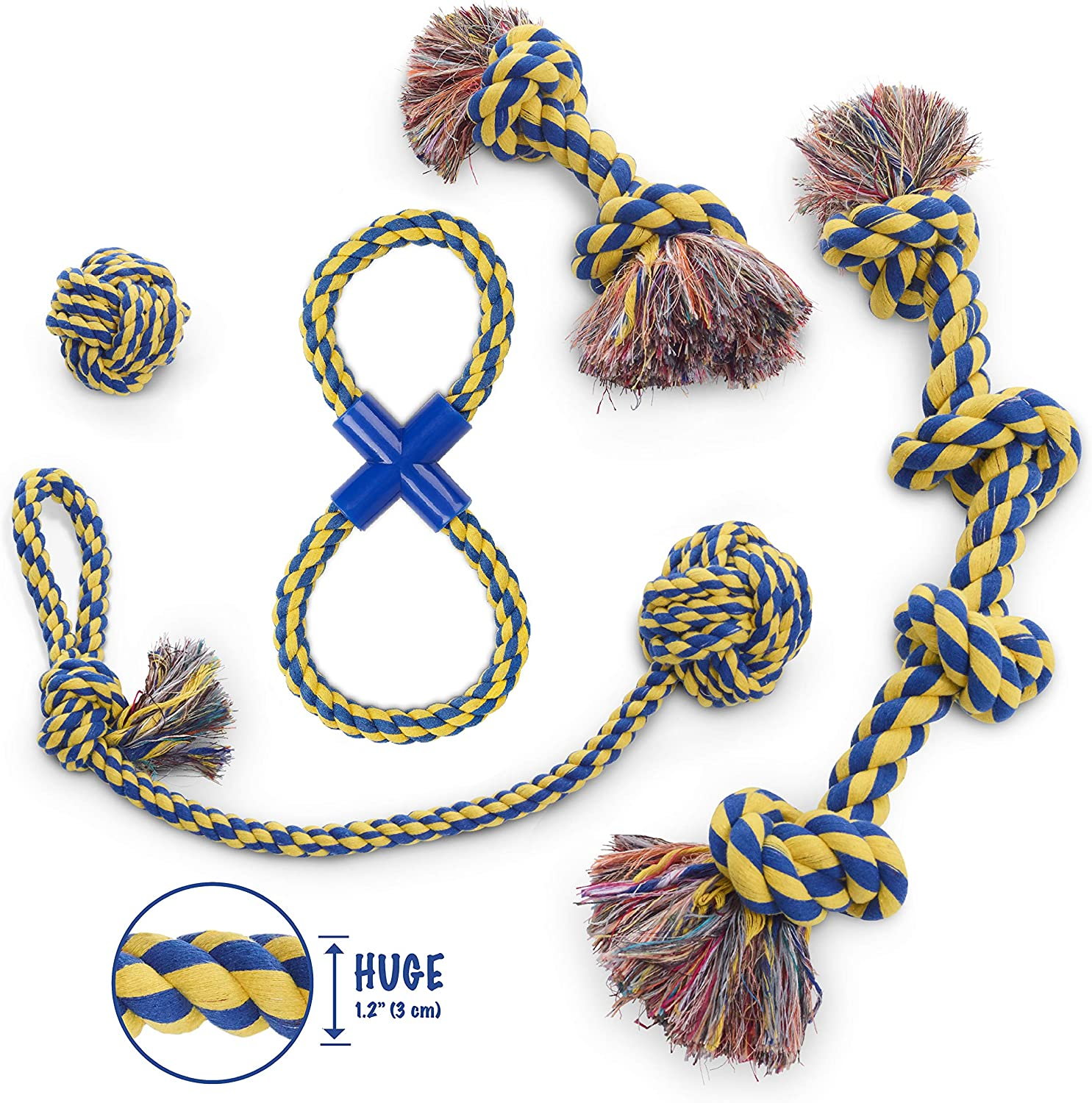 MAS  Dog Rope Toy, 5pc Set, EXTRA THICK Durable Quality, 100% NATURAL COTTON, Medium, Large, Extra Large Dogs, Mental Stimulation, Aggressive Chewers, Dental Hygiene, Puppy Behavioral Training Toy