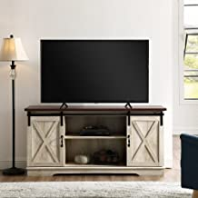 Home Accent Furnishings New 58 Inch Sliding Barn Door Television Stand - White Oak Finish with Dark Top