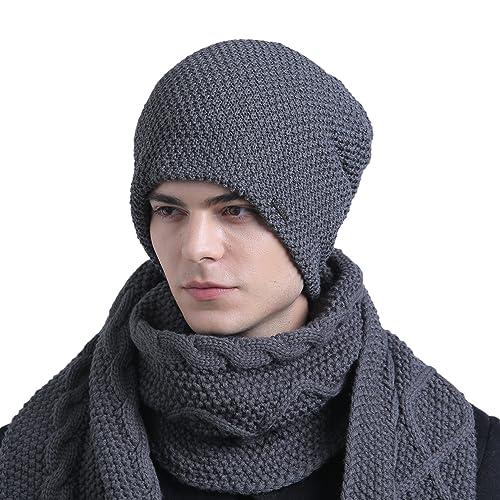92e2cfed3ff CACUSS Men s Fashion Cotton Knit Pattern Soild Breathable Beanie Hat