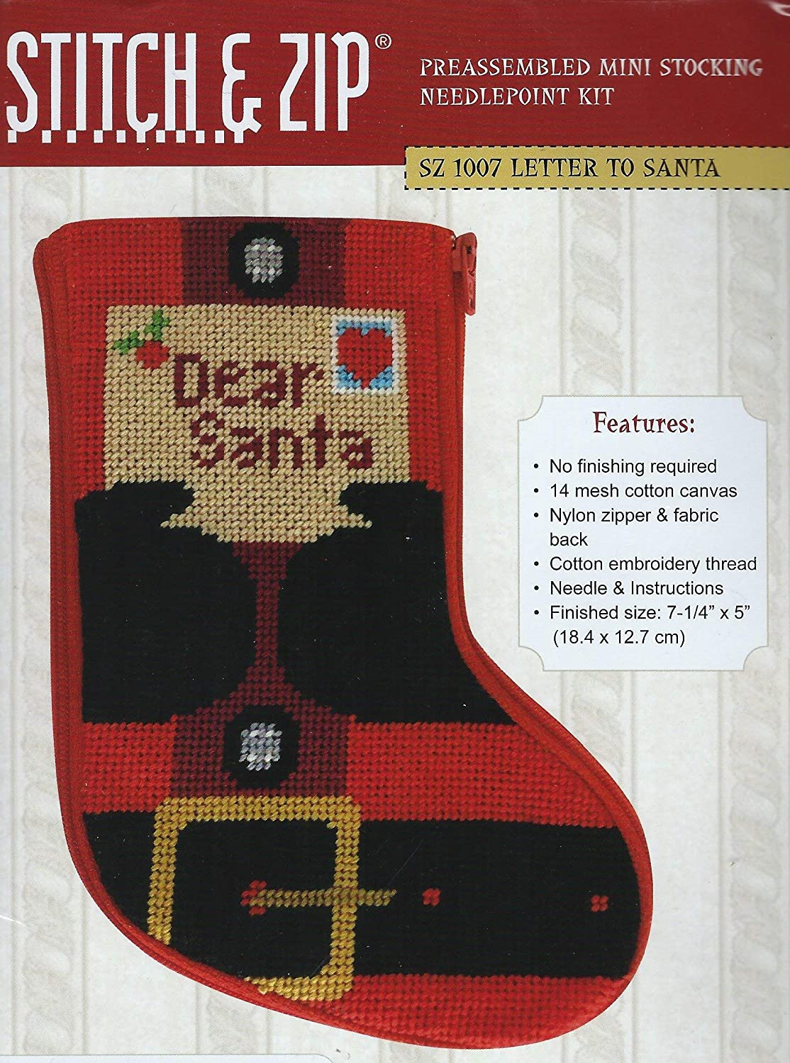 Stitch Zip Letter Safety and trust to Santa Direct store Mini Kit Needlepoint Stocking