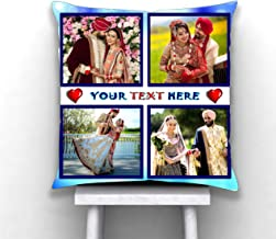Pix Art Satin 4 Photo with Text Massage Decorative Customized Printed Cushion (Multicolour; 12X12 Inch)