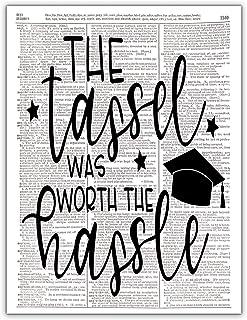 The Tassel Was Worth the Hassle, High School College Senior Class Graduation, Dictionary Print Wall Photo Art, 8x10, Unframed