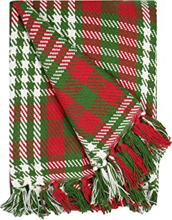 REDEARTH Christmas Plaid Throw Blanket -Medium Weight Soft Lap Blanket for Sofa Bed Couch Chairs loveseats car, Living, Indoor/Outdoor use 100% Cotton (50x60; Red)