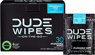 DUDE Wipes Flushable Wet Wipes 30 Wipes, Individually Wrapped for Travel, Unscented Wet..