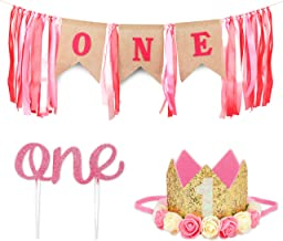1st Birthday Girl Decorations with Crown - 1 Year Old Baby First Birthday Decorations Girl - Princess Theme Cake Smash Party Supplies - ONE High Chair Banner, Cake Topper, Princess Flower Crown