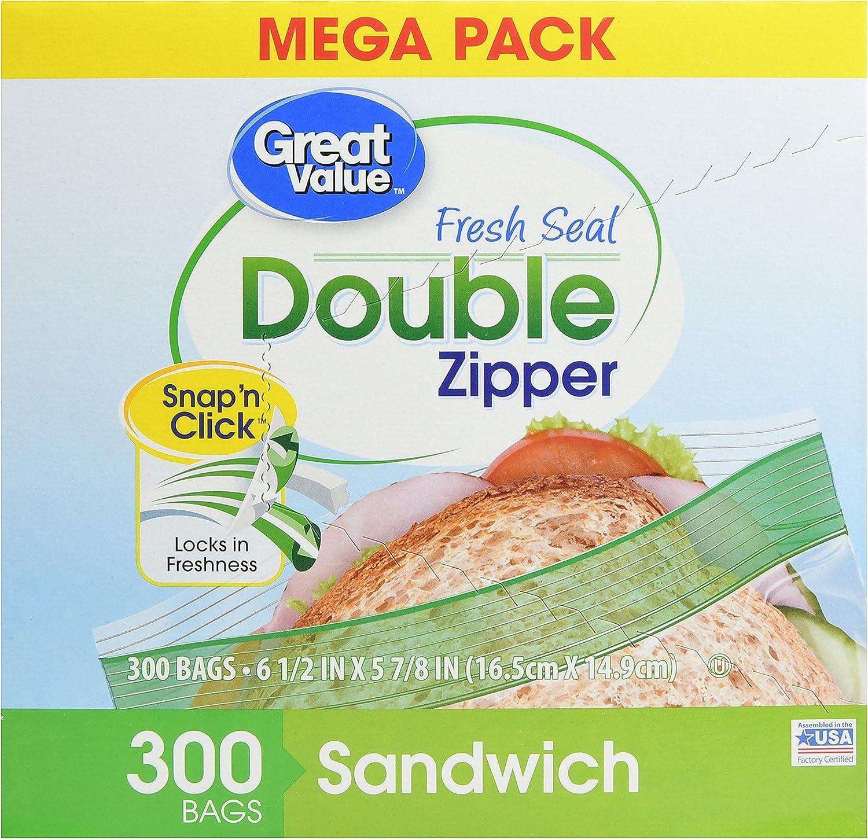 Great Value Double Zipper Sandwich Bags, 300 Count