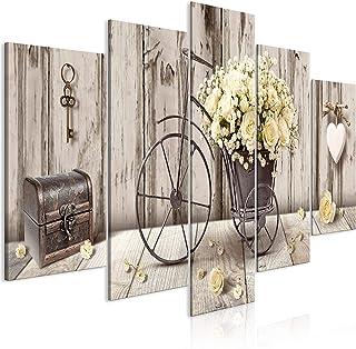 murando Impression sur Toile intissee Fleurs Bois 100x50 cm 5 Pieces Tableau Tableaux Decoration Murale Photo Image Artist...