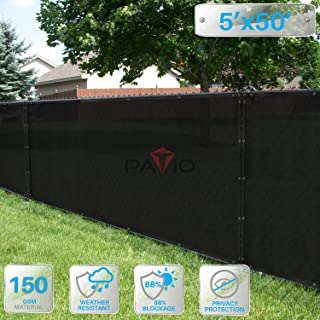 Patio Paradise 5' x 50' Black Fence Privacy Screen, Commercial Outdoor Backyard Shade Windscreen Mesh Fabric with Brass Gromment 88% Blockage- 3 Years Warranty (Customized