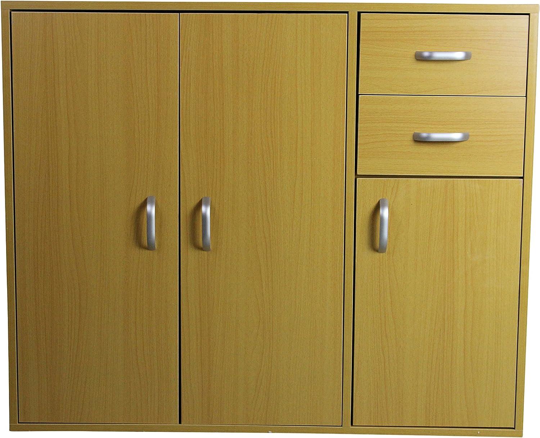 Oz BCP Black Sideboard Buffet Cupboard - 3 Doors + 2 Drawers - Wooden Cabinet Chest Unit (Beech)