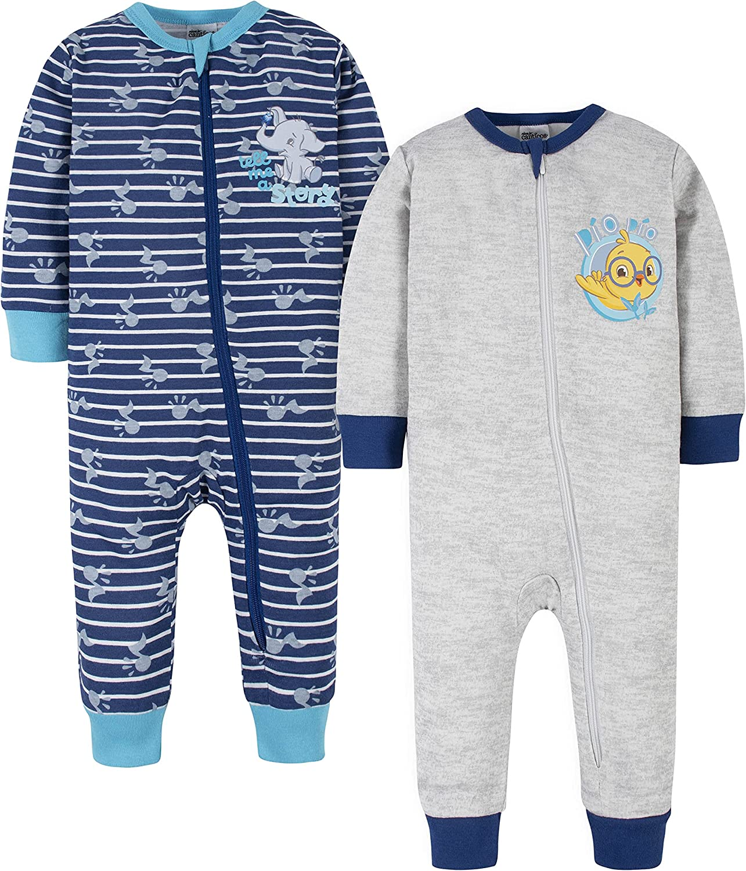 Canticos Baby Boys' 2-Pack Snug Fit Footless Cotton Pajamas