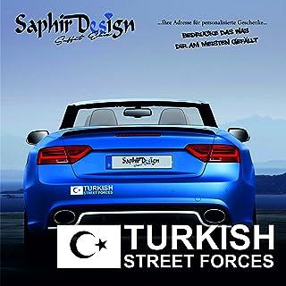 Saphir Design Turkish Street Forces/AyYildiz/Türkiye/Sehr Coole Autoaufkleber / 15x3cm / A145 Farbe Weiss