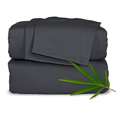Pure Bamboo Sheets Queen Size Bed Sheets 4 Piece Set, 100% Organic Bamboo, Luxuriously Soft & Cooling, Double Stitching, 16  Deep Pockets, 1 Fitted, 1 Flat, 2 Pillowcases (Queen, Charcoal)