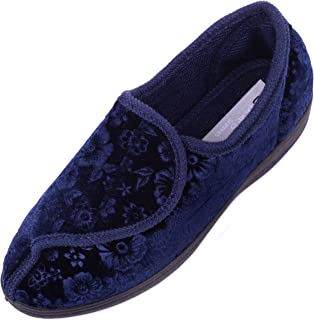 ABSOLUTE FOOTWEAR Womens Velvet/Velour Style Slippers/Indoor Shoes with Ripper Fastening