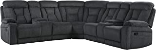 Homelegance Rosnay 3 Piece Reclining Sectional with Console, Gray