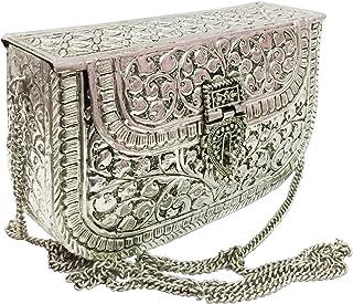 Trend Overseas White Metal clutches Vintage Handmade Brass purse bridal women Antique party clutch