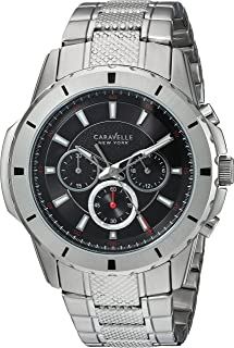 Caravelle New York Men's Analog-Quartz Watch with Stainless-Steel Strap, Silver, 24 (Model: 43A137)