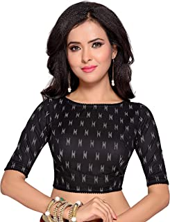 STUDIO Shringaar Women's Black Ikat Print Pure Cotton Stitched Saree Blouse