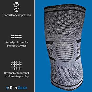 RiptGear Knee Compression Sleeve - Knee Brace for Working Out - Non-Slip Knee Support for Men and Women - Compression...