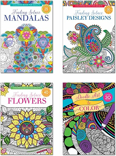 Amazon.com: B-THERE Adult Coloring Books - Set Of 4 Coloring Books, Over  125 Different Designs Combined! Mandala Coloring Books For Adults With  Detailed Flower Designs Printed On Heavy Paper.: Toys & Games