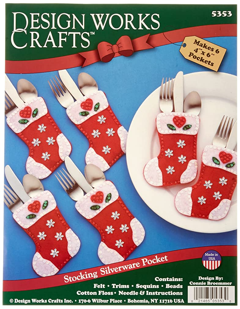 Tobin Christmas Stocking Silverware Pockets Felt Applique Kit, 4-Inch by 6-Inch, Set of 6