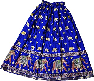 Vanya Paridhaan Women Long Skirt Ethnic Cotton Free Size fits up to 34 inches Royal Blue