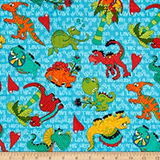 I Love You This Much Dino Character Medium Teal Fabric By The Yard
