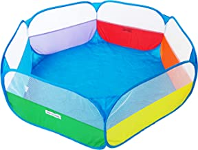 """EWONDERWORLD 40"""" Kids Rainbow Pop Up Hexagon Ball Pit Playpen with Carrying Tote Bag - Ball Pit for Kids, Portable Play Area"""