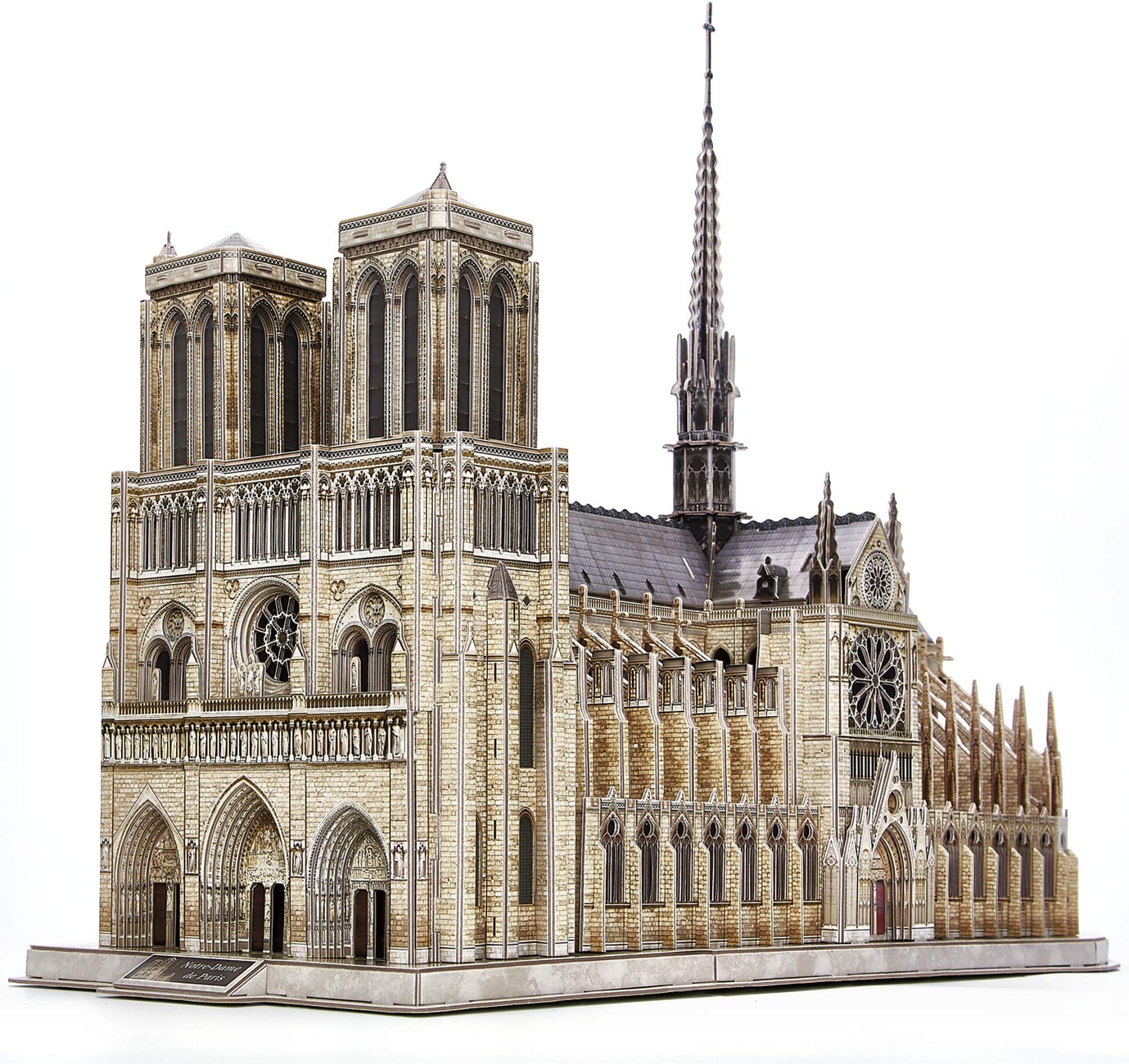 CubicFun 3D Puzzle for Adults Moveable Notre Dame de Paris Church Model Kits Large Challenge French Cathedral Brain Teaser Architecture Building Puzzles, 293 Pieces