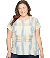 Lucky Brand - Plus Size Metallic Embroidered Top