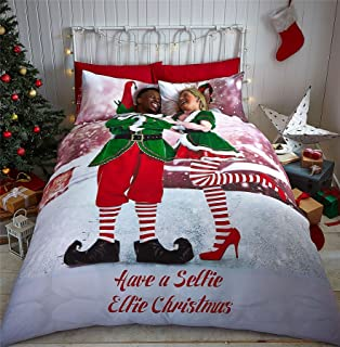 CHRISTMAS ELVES ROOFTOP GREEN RED WHITE USA QUEEN SIZE (230CM X 220CM - UK KING SIZE) DUVET COMFORTER COVER