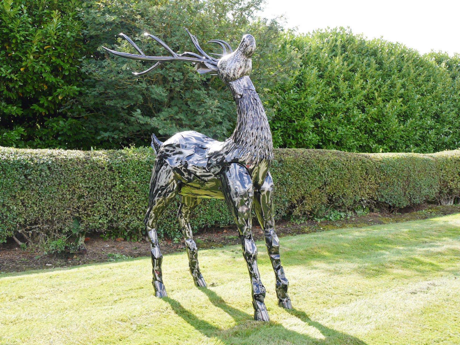 Cabeza de ciervo cuernos de reno Home decorativo para jardín Estatua Escultura grande 165 CM: Amazon.es: Hogar