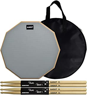 AAGUT Practice pad with Drum Sticks Set, 12 Inch Marching Band Bass Snare Drums Pads Grey with 4 Hickory Classic 5A Drumsticks and Carry Bag