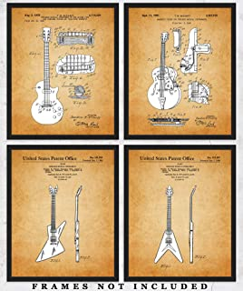 Vintage Gibson Guitar Patent Wall Art Prints: Unique Room Decor for Boys, Men, Girls & Women - Set of Four (8x10) Unframed Pictures - Great Gift Idea for Guitarists & Music Lovers!