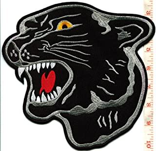 Large Panther with Lux Collar Black /& Silver Gray Embroidered iron on Patch Applique 2 sizes
