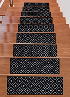"""Beverly Rug Soft Rug Stair Treads Trellis Design, 13 Pack, Black, 9"""" x 28"""" Tape Included"""