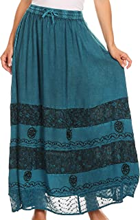 Sakkas Sandra Women's Casual Long Maxi Boho Gypsy Skirt Elastic Waist & Pockets