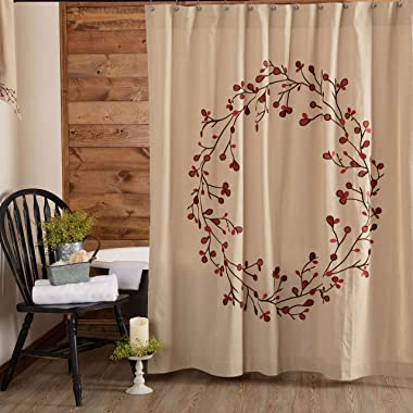"""Twig & Berry Vine Shower Curtain, 72"""" x 72"""", Beige w/ Embroidered Berries, Farmhouse Country Primitive Bathroom D"""