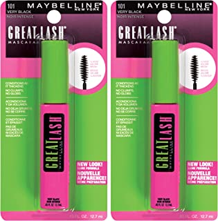 Maybelline New York New York Great Lash Washable Mascara Makeup, Very Black, 2Count