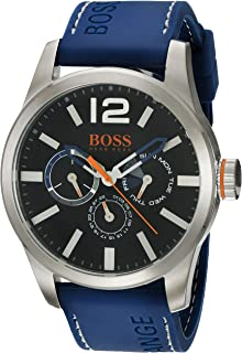 Orange Men's Quartz Stainless Steel and Leather Casual Watch, Color:Blue (Model: 1513250)