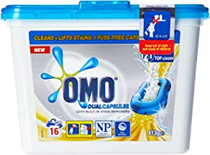 OMO Active Clean Laundry Detergent Liquid Capsules Front & Top Loader 16 Pack