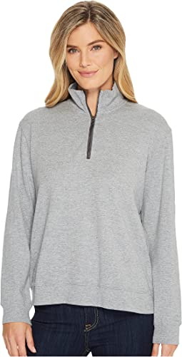 Heather Slub Rib 1/2 Zip Funnel Pullover