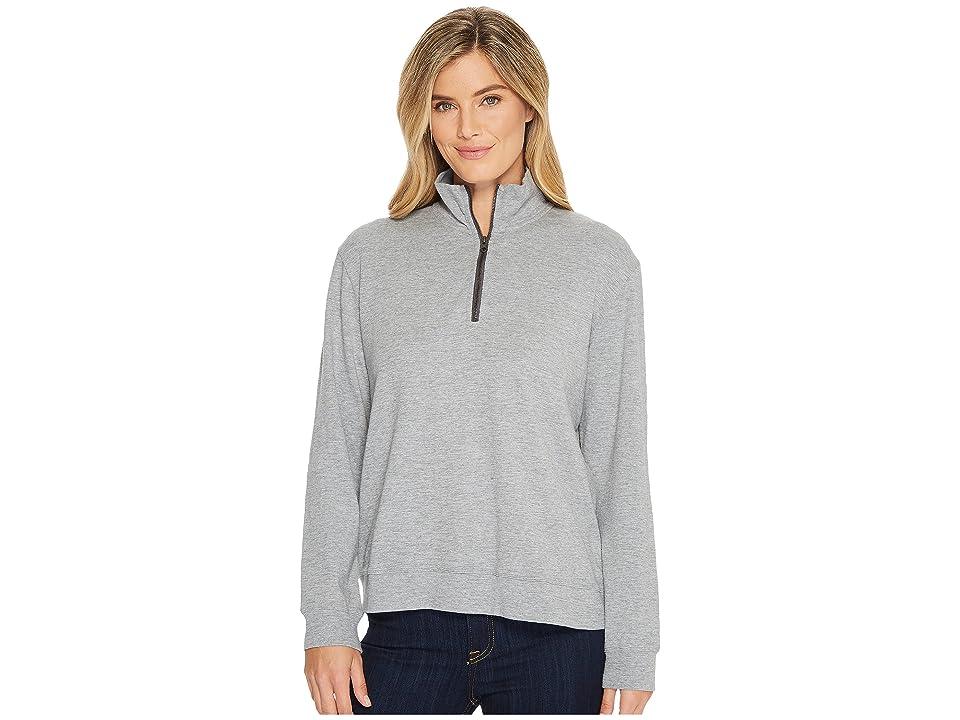 Mod-o-doc Heather Slub Rib 1/2 Zip Funnel Pullover (Cashmere Grey) Women