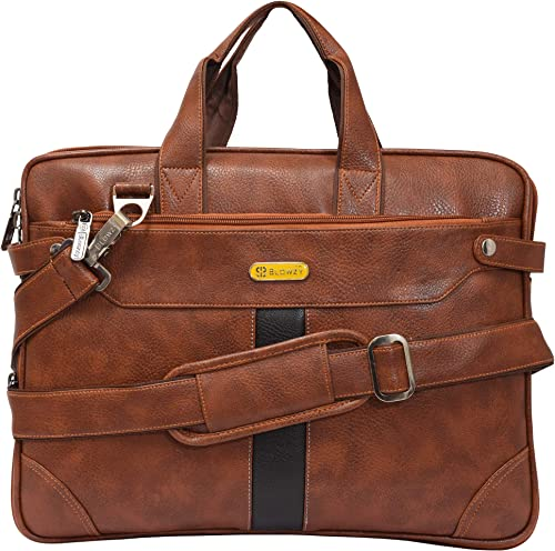 Blowzy PU Leather 14 Inch Laptop Expandable Shoulder Messenger Sling Office Bag For Men Women 40 X 29 X 6 Cm Tan