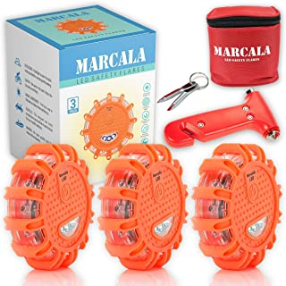 MARCALA LED Road Flares 3-Pack | LED Emergency lights for Vehicles | Roadside safety discs | DOT Compliant LED Safety Flare Kit Batteries installed, Carry-Case and 3 Bonuses | Feel safer on the road!